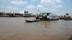 Floating market,   Vietnam. Mekong river floating market, Vietnam stock video footage