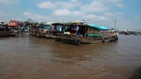 Floating market,   Vietnam. Mekong river floating market, Vietnam stock video