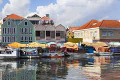 Floating market in Willemstad. Colorful floating fruit market in Willemstad on Curacao Stock Image