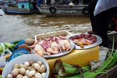 Floating markets in Can Tho, Vietnam Stock Image