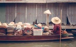 Floating markets in Damnoen Saduak in  Thailand Royalty Free Stock Photos