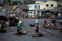 The Floating Markets in Vietnam Mekong royalty free stock photo