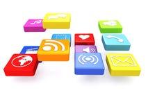 Floating Media Icons Stock Image