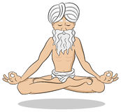 Floating meditating yogi. Vector illustration of a floating and meditating yogi Royalty Free Stock Photography