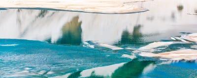 Floating melting ice blocks at the lake panorama background Stock Images