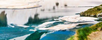 Floating melting ice blocks at the lake panorama background Royalty Free Stock Image
