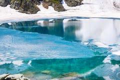 Floating melting ice blocks at the lake Royalty Free Stock Images
