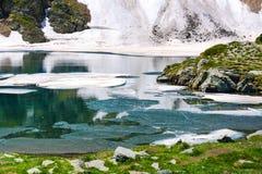 Floating melting ice blocks at the lake Royalty Free Stock Photography