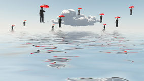 Floating Men with Umbrellas Stock Images
