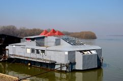 Floating metal gymnasium and play area Sava River Belgrade Serbia Stock Photography