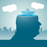 Floating mind. Abstract colorful illustration with a paper boat floating in the calm waters of a mans mind Stock Image
