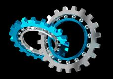 Floating modern gear mechanism 3D rendering Royalty Free Stock Photos