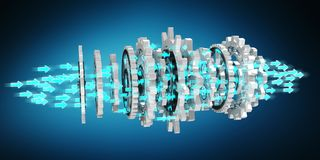 Floating modern gear mechanism 3D rendering. Floating modern gear mechanism on blue background 3D rendering Royalty Free Stock Photography