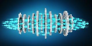 Floating modern gear mechanism 3D rendering. Floating modern gear mechanism on blue background 3D rendering Stock Image