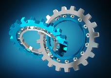 Floating modern gear mechanism 3D rendering. Floating modern gear mechanism on blue background 3D rendering Royalty Free Stock Photo