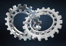 Floating modern gear mechanism 3D rendering. Floating modern gear mechanism on black background 3D rendering Royalty Free Stock Images