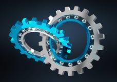 Floating modern gear mechanism 3D rendering. Floating modern gear mechanism on black background 3D rendering Stock Image