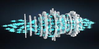Floating modern gear mechanism 3D rendering. Floating modern gear mechanism on black background 3D rendering Stock Photo