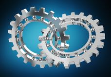 Floating modern gear mechanism 3D rendering Stock Photography