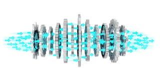 Floating modern gear mechanism 3D rendering. Floating modern gear mechanism on white background 3D rendering Royalty Free Stock Photography