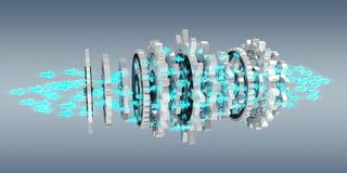 Floating modern gear mechanism 3D rendering. Floating modern gear mechanism on grey background 3D rendering Stock Photo