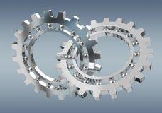 Floating modern gear mechanism 3D rendering. Floating modern gear mechanism on grey background 3D rendering Royalty Free Stock Photo