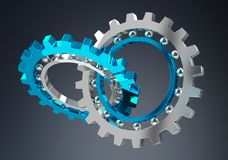 Floating modern gear mechanism 3D rendering Stock Photos