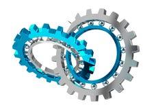 Floating modern gear mechanism 3D rendering. Floating modern gear mechanism on white background 3D rendering Royalty Free Stock Image
