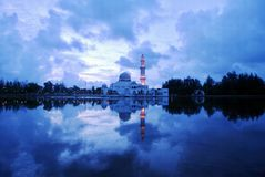Floating mosque. In Terengganu, Malaysia royalty free stock photo