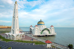 Floating Mosque of Malacca Straits. Floating mosque located in Malacca Straits, Malacca, Malaysia from high angle stock photos
