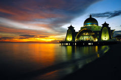 Floating Mosque of Malacca Straits. Floating mosque located in Malacca Straits, Malacca, Malaysia during sunset stock photography