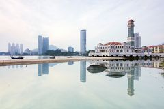 Floating mosque reflection in Penang Royalty Free Stock Photo