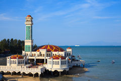 Floating Mosque. Of Tanjung Bungah, Malaysia Stock Photo