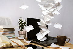 Floating notes. On a laptop Royalty Free Stock Image
