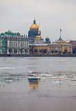 Floating Of Ice On City River Royalty Free Stock Photography