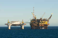 Floating oil rig with accomodation conected Stock Image