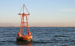 Floating old red buoy Royalty Free Stock Photos