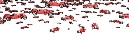 Floating oldtimers  on white background. Computer generated 3D illustration with masses of floating oldtimers  on white background Royalty Free Stock Photography