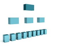 Floating org chart. A 3d rendering depicting a classic org chart for a company foating Stock Images