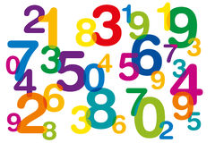 Floating and overlapping colored numbers Royalty Free Stock Image