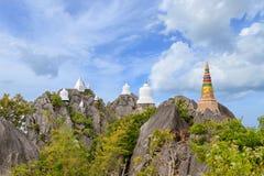Floating pagoda on peak of mountain at Wat Chaloem Phra Kiat Phra Bat Pupha Daeng temple in Chae Hom district, Lampang, Thailand.  stock images