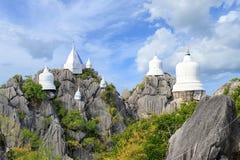 Floating pagoda on peak of mountain at Wat Chaloem Phra Kiat Phra Bat Pupha Daeng temple in Chae Hom district, Lampang, Thailand.  royalty free stock image