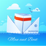 Floating Paper Boat Flat Icon Poster Stock Images