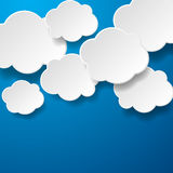 Floating Paper Clouds Background Stock Images