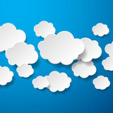 Floating Paper Clouds Background Stock Image