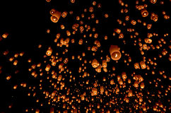 Floating paper lantern in night sky Royalty Free Stock Photos