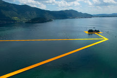 The floating piers. The artist Christo walkway on Lake Iseo Stock Image