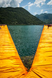 Floating Piers diverging branches Royalty Free Stock Image