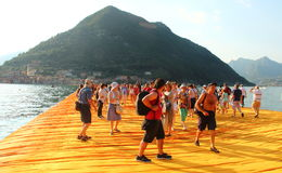 The Floating Piers, Iseo Lake, Italy Royalty Free Stock Photo