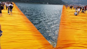 Floating piers, Iseo lake. Floating piers made by the artist Christo Royalty Free Stock Image